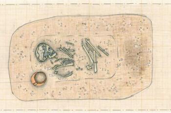 Zeichnung Skelett mit Becher